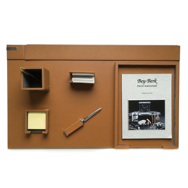 Bey Berk Talon Brown Leather 6-piece Desk Set (Brown)