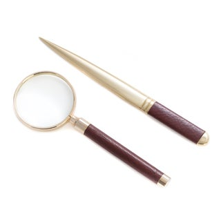 Bey Berk Calvin Brown Leather Magnifier and Letter Opener Set