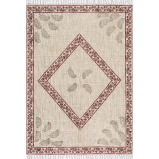 nuLOOM Handmade Flatweave Diamond Cotton Fringe Beige Rug (7'6 x 9'6)