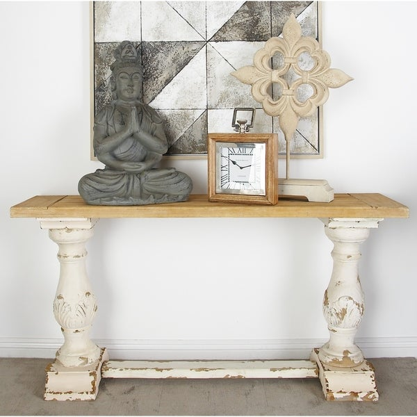 Shop 59 Quot X 29 Quot Antique Wood Amp Distressed White Console