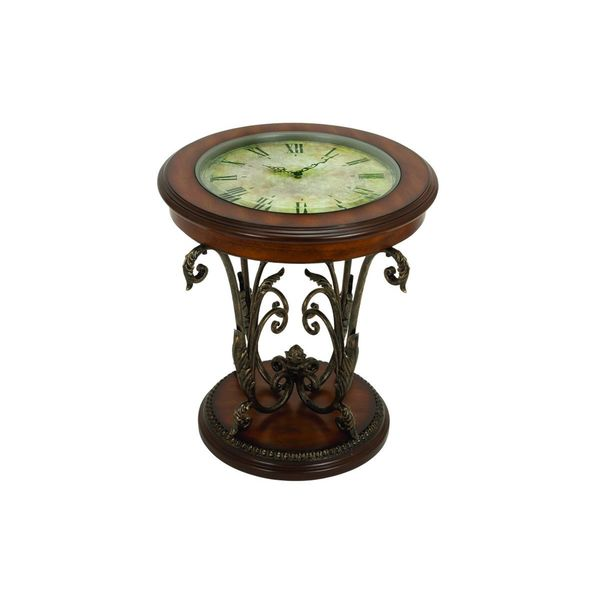 Metal Wood Table With Clock 24 Inches High X 22 Inches