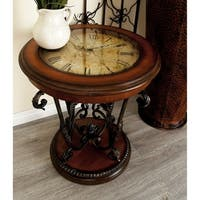 Metal/Wood Table with Clock (24 inches high x 22 inches wide)