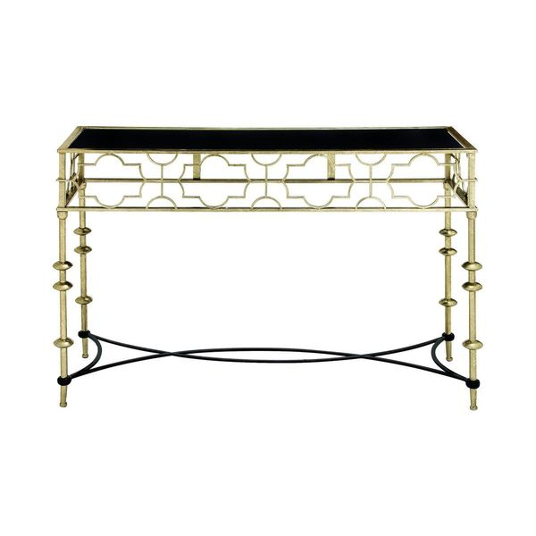 Metal glass console table 48 inches wide x 30 inches high for Sofa table 48 inches