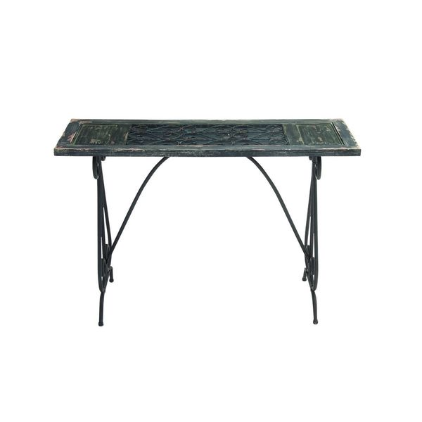 Metal Wood Glass Console Table 46 Inches Wide X 30 Inches