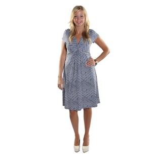 Hadari Women Short Sleeve V-Neck Knee Length A-Line Dress