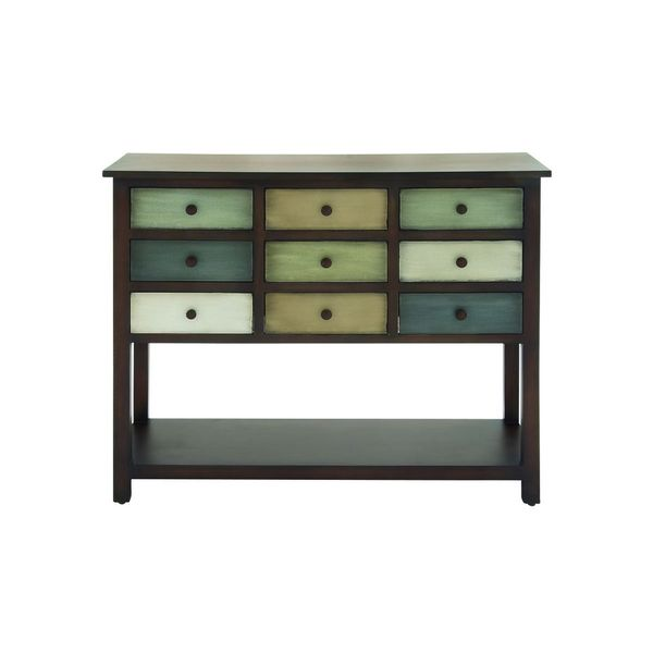 Wood 9 drawer console 42 inches wide x 34 inches high for 42 sofa table