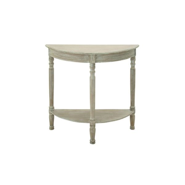 Wood weathered brown half round console table 32 inches for 10 inch high table