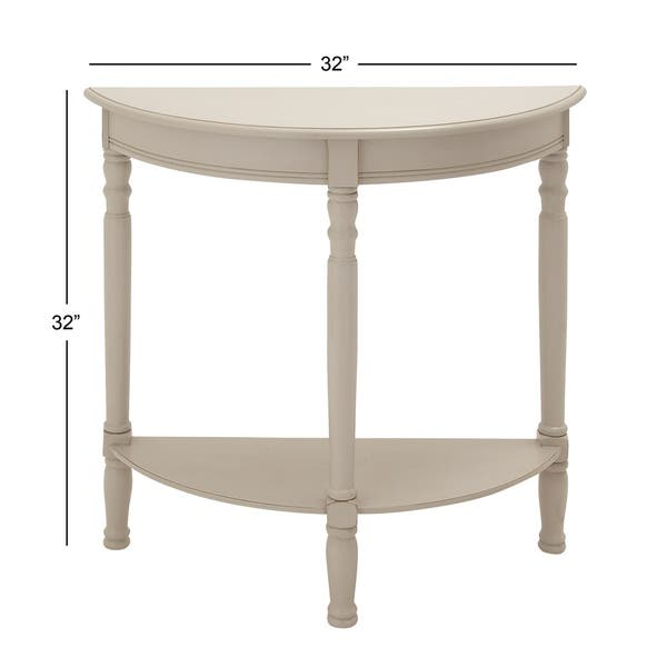 Shop Farmhouse 32 Inch Half Circle White Wooden Console Table By