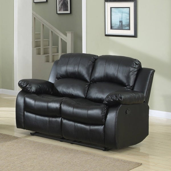 Classic Oversize And Overstuffed 2 Seat Bonded Leather Double Recliner Loveseat Free Shipping