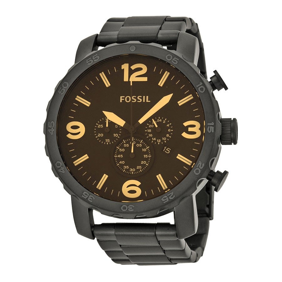 Fossil Men's JR1356 Nate Stainless Steel Chronograph Watc...