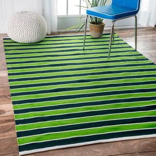 nuLOOM Handmade Indoor/ Outdoor Flatweave Resort Stripes Green Rug (7'6 x 9'6)