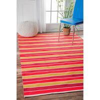 nuLOOM Handmade Indoor/ Outdoor Flatweave Resort Stripes Orange Rug - 7'6 x 9'6