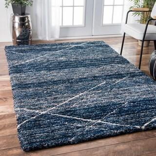nuLOOM Handmade Diamond Trellis Shag Blue Rug (7'6 x 9'6)
