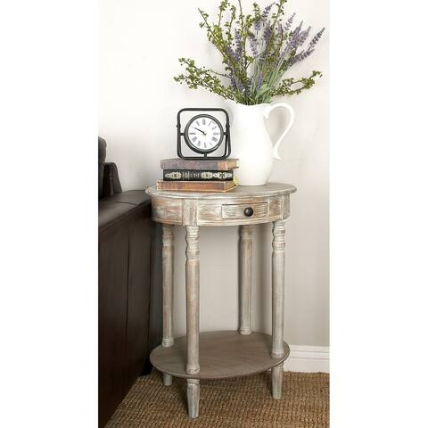 Farmhouse 27 Inch Oval Wooden Accent Table with Drawer by Studio 350