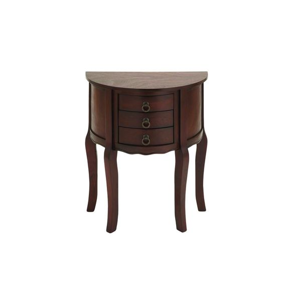 Wood rubbed red accent table 22 inches wide x 28 inches for Wide side table