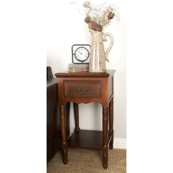 Traditional 29 x 16 Inch One-Drawer Wooden Side Table by Studio 350
