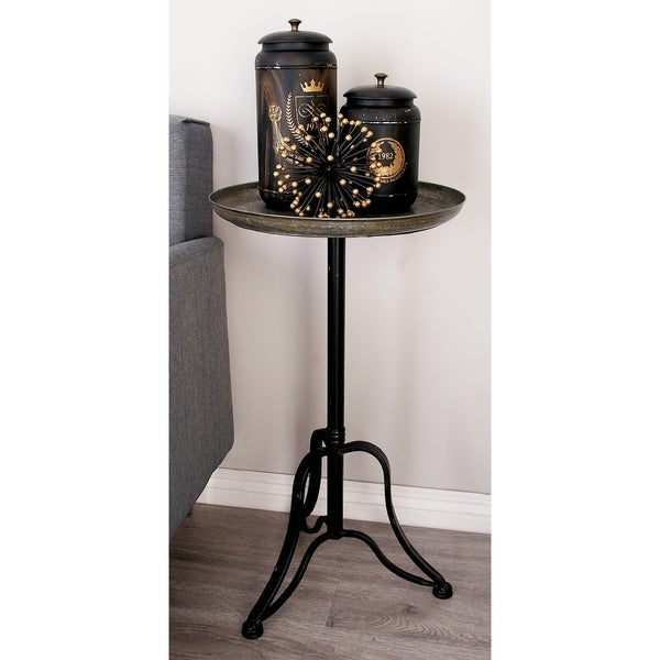 Shop Farmhouse 27 Inch Round Distressed Metal Tray Table ...