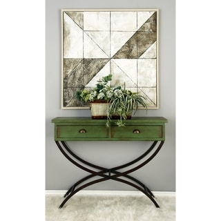 Metal Wood Green Console Table