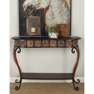 Metal Wood Console Table (32 inches high x 43 inches wide)