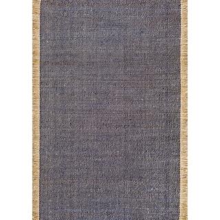 nuLOOM Handmade Flatweave Solid Tassle Blue Rug (3' x 5')