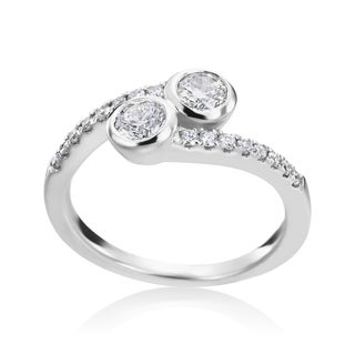 Andrew Charles 14k White Gold 3/4ct TDW 2-stone Bezel Diamond Ring (H-I, SI1-SI2)