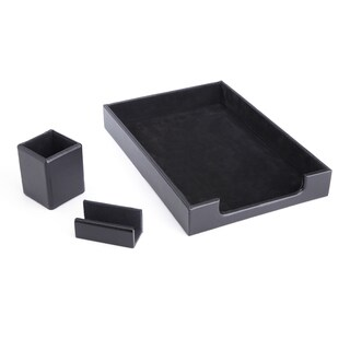 Royce Luxury Genuine Leather Desk Set: Pen Cup Organizer, Letter Tray and Business Card Holder