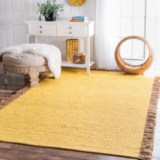 nuLOOM Handmade Flatweave Solid Tassle Yellow Rug (9' x 12')