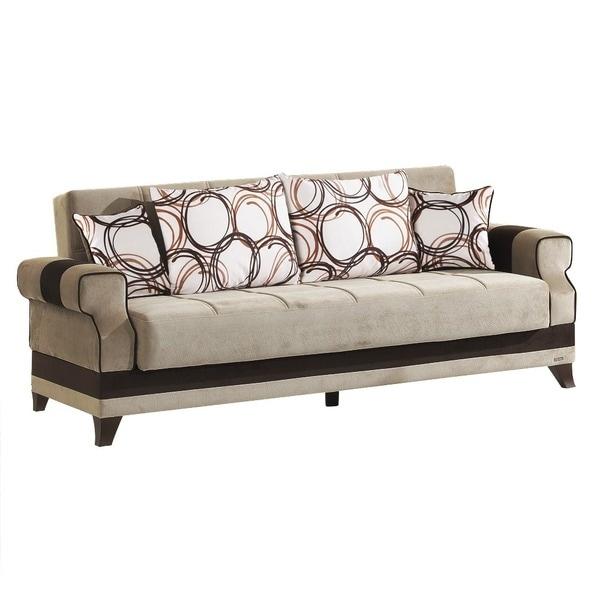 Fuga Beige Microfiber Fabric Convertible Futon Sofa Bed With Storage