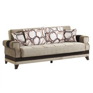 Fuga Beige Microfiber Fabric Convertible Futon Sofa Bed with Storage