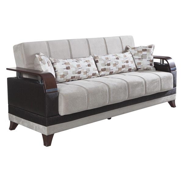 Natura beige microfiber convertible sofa bed free for Sofa natura 6650
