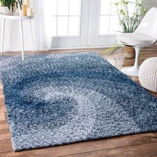 nuLOOM Handmade Contemporary Abstract Swirl Blue Rug (5' x 8')