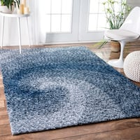 nuLOOM Handmade Contemporary Abstract Swirl Blue Rug - 5' x 8'