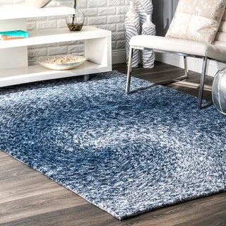 nuLOOM Handmade Contemporary Abstract Swirl Blue Rug (7'6 x 9'6)