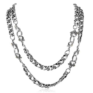 Stephen Webster Jewels Verne Sterling Silver and Black Sapphire Chain Necklace