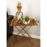 Traditional 26 x 28 Inch Gold Metal Folding Tray Table by Studio 350