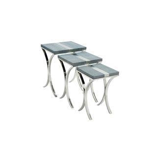 Stainless Steel Leather Silver Nest Table (Set of 3)