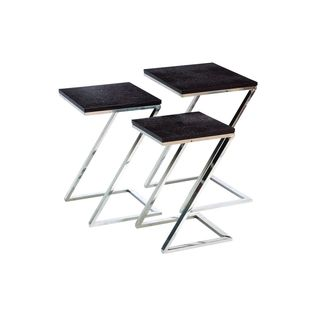 Stainless Steel Black Leather Nest Table (Set of 3)
