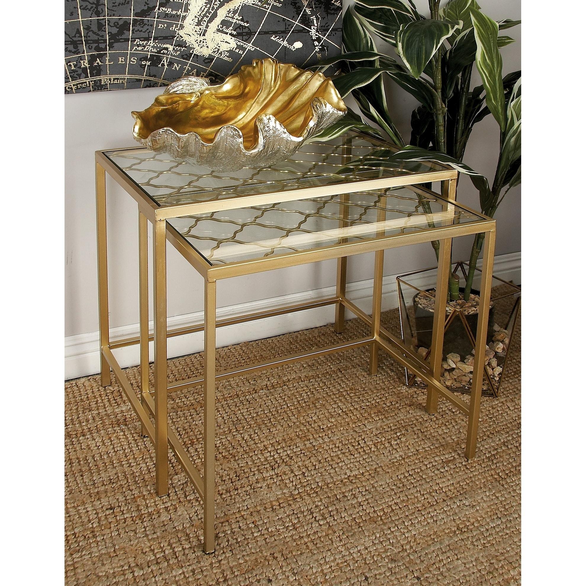 Studio 350 Metal Glass Nest Table (Set of 3) (MTL GLS Nes...
