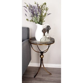 Contemporary 24 x 16 Inch Round Brass Accent Tray Table by Studio 350