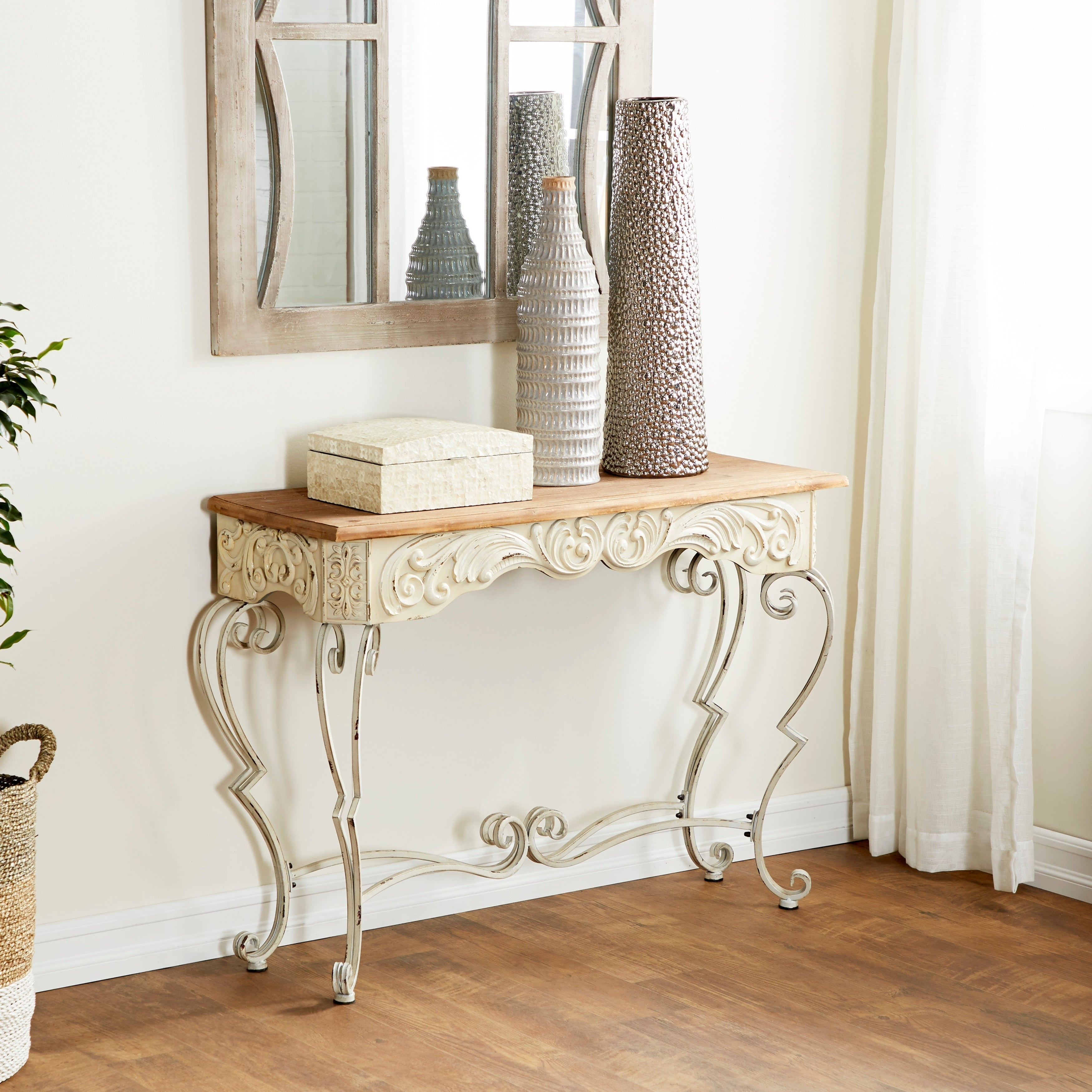 Farmhouse 32 X 42 Inch Metal And Wood Console Table By Studio 350 Overstock 12204438
