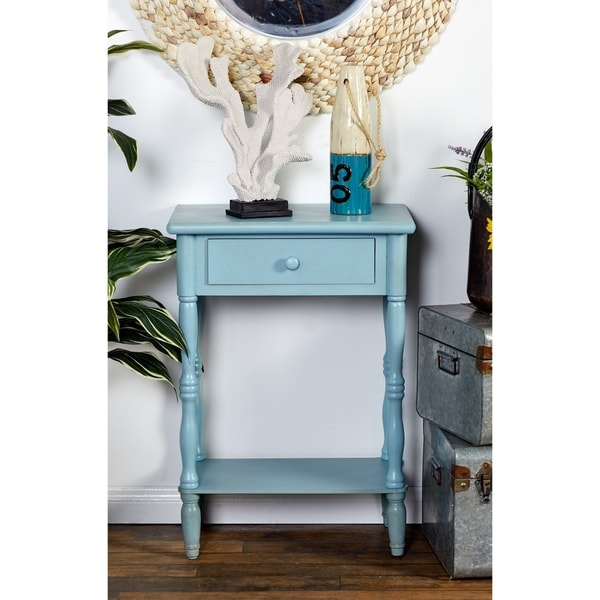 Farmhouse 31 Inch Light Turquoise One-Drawer Side Table by Studio 350