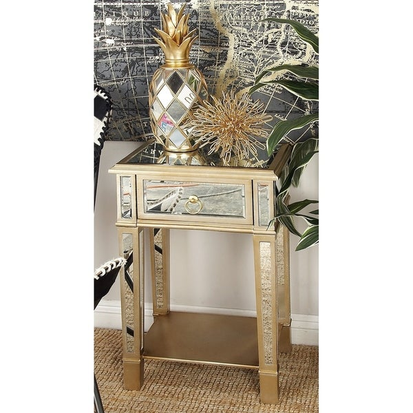 Modern 27 x 18 Inch Wood and Mirror Side Table by Studio 350
