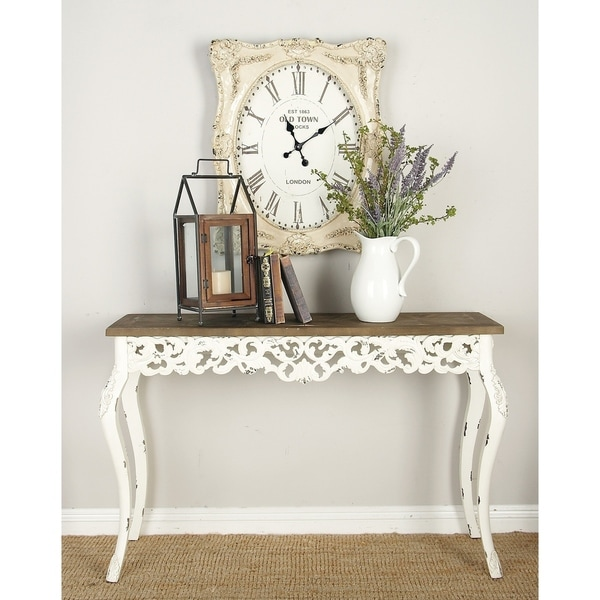 Farmhouse 30 Inch Carved Wooden Console Table by Studio 350