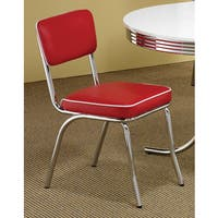 Palm Canyon Pablo Red Chrome Plated Retro Dining Chair (Set of 2)