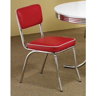 Carson Carrington Hrafnagil Red Chrome Plated Retro Dining Chair (Set of 2)