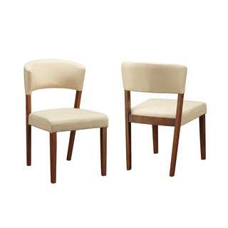 Contemporary Walnut and Cream Side Chair