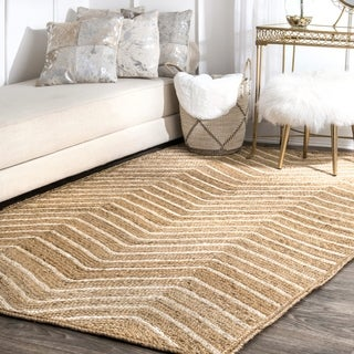 nuLOOM Patterned Pinstriped Jute Natural Rug (9' x 12')