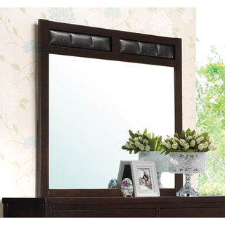 Dark Brown Wood and Faux Leather Mirror