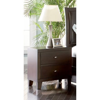 2 Drawer Cappuccino Finish Wooden Nightstand