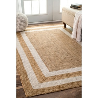 nuLOOM Patterned Double Border Jute Natural Rug (9' x 12')